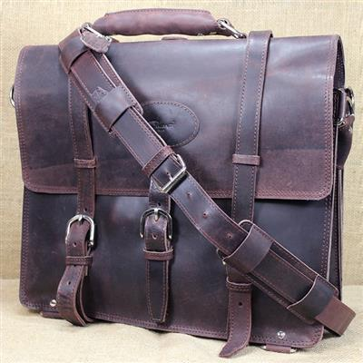 GLBC100CB-GLANOR RUSTIC VINTAGE LEATHER BRIEFCASE BACKPACK LAPTOP BAG - COFFEE BROWN