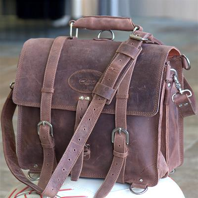 GLBC100CN-CHESTNUT GLANOR RUSTIC VINTAGE LEATHER BRIEFCASE BACKPACK LAPTOP BAG