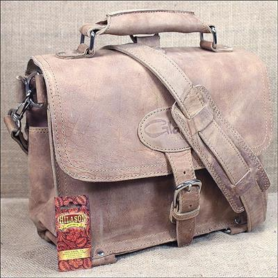 GLST100NL-GLANOR SATCHEL GENUINE LEATHER BAG - NATURAL COLOR