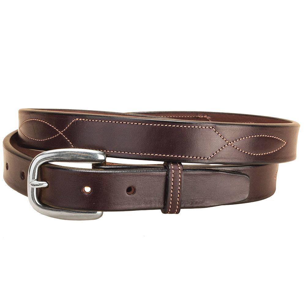 Tory Leather Bridle Leather Belt Stitched Pattern Brass Buckle Belt Havana U-2-V