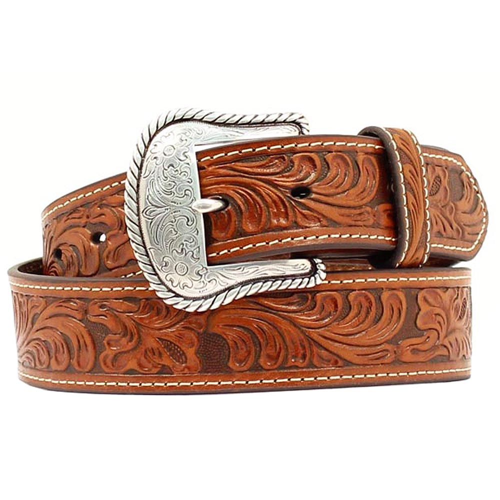 U-6008-Nocona-Western-Mens-Belt-Leather-Tooled-Floral-Contrast-Stitching-Tan thumbnail 4