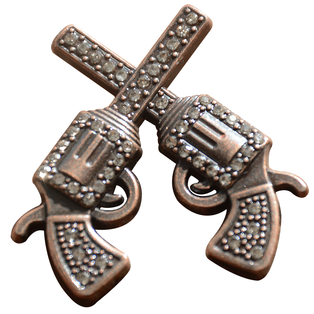 Set Of 8 Western Screw Back Concho Crystal Bling Cross Pistol Saddle U-TY08