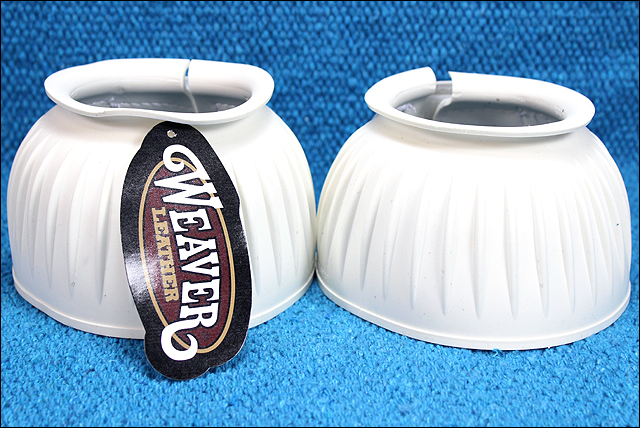 WEAVER WHITE DOUBLE HOOK AND LOOP HORSE LEG BELL BOOTS U-4251