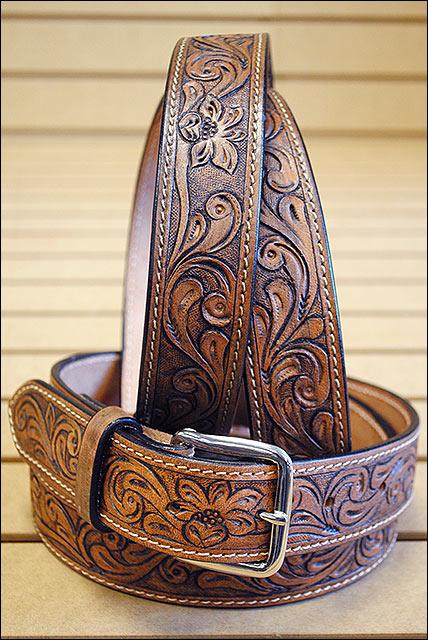 U-T107 Hilason Western Working Leather Men/'S Work Hand Carved Gun Holster Belt