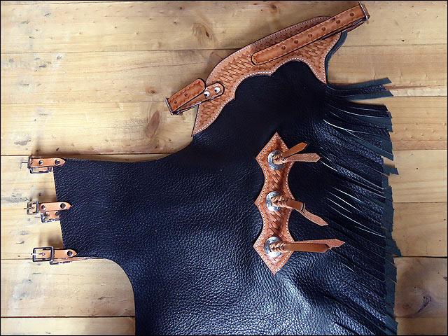 U-K312 Hilason Child Pro Rodeo Bronc Bull-Riding Hair On Leather Chinks Chaps