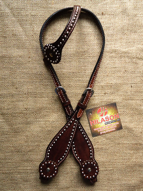 C-9-HS Western Horse One Ear Headstall Tack Bridle American Leather Brown