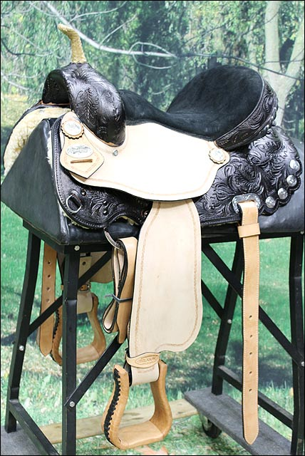 U-K-VX U-K-VX U-K-VX N135 Hilason American Leather Western Flex Tree Barrel Racing Trail Horse bc81cd