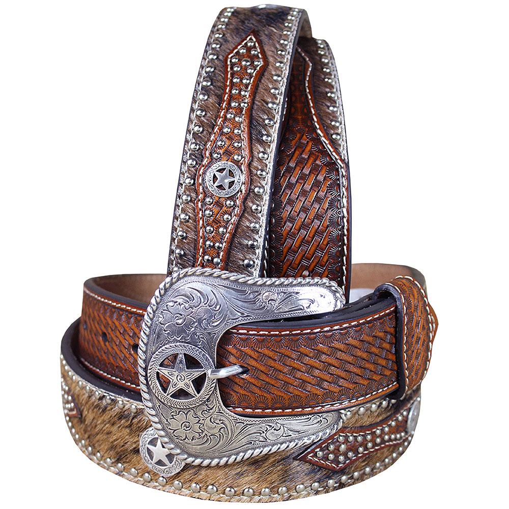 Western Cowboy Belt Nocona Hair Star Concho Brown Leather 34-46 Ines U-6808