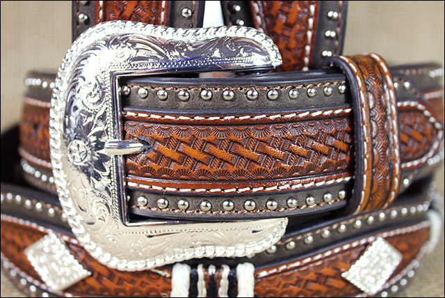 U-8808 WESTERN NOCONA WESTERN LEATHER MENS BELT SCALLOP OVERLAY COPPER 32-46 INC