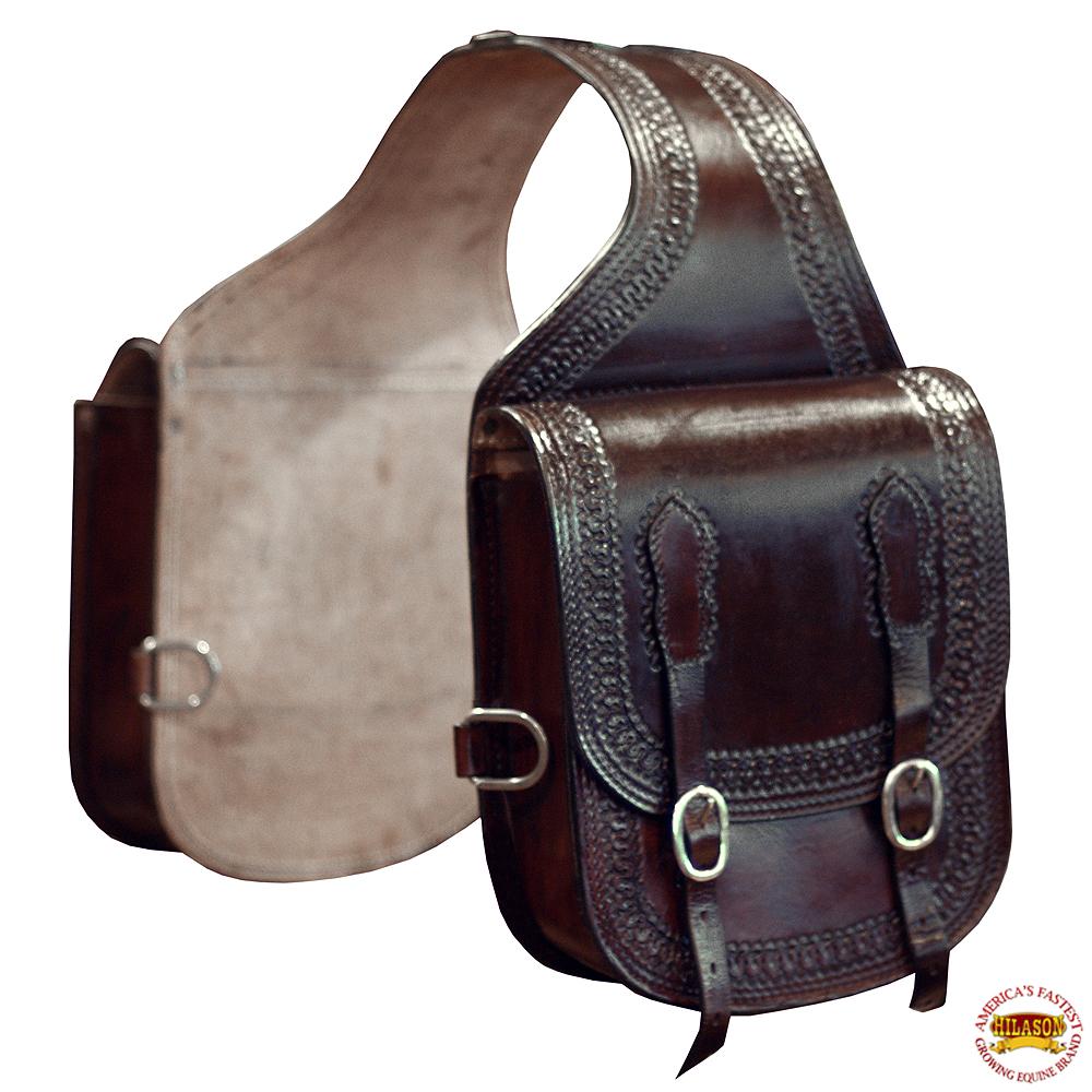 Details About Horse Western Saddle Bag Leather Cowboy Trail Ride Dark Brown Hilason U 07db