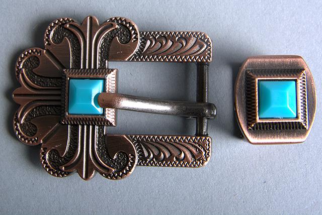 1.5 Inch Hilason C-TY01 One Piece Western Screw Back Concho Copper Buckle Set