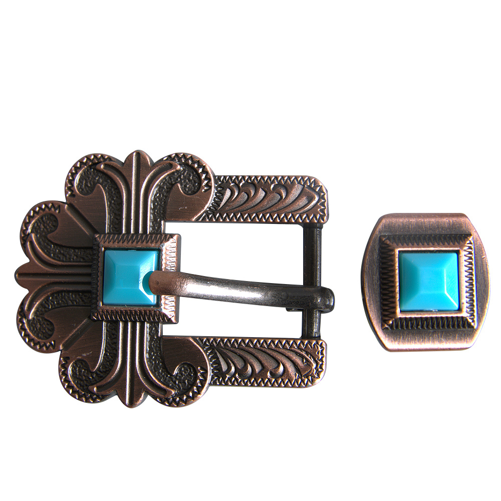 C-TY01 1 PIECE HILASON STAINLESS STEEL FINISHED BELT BUCKLE SET W//BLING CLEAR CR