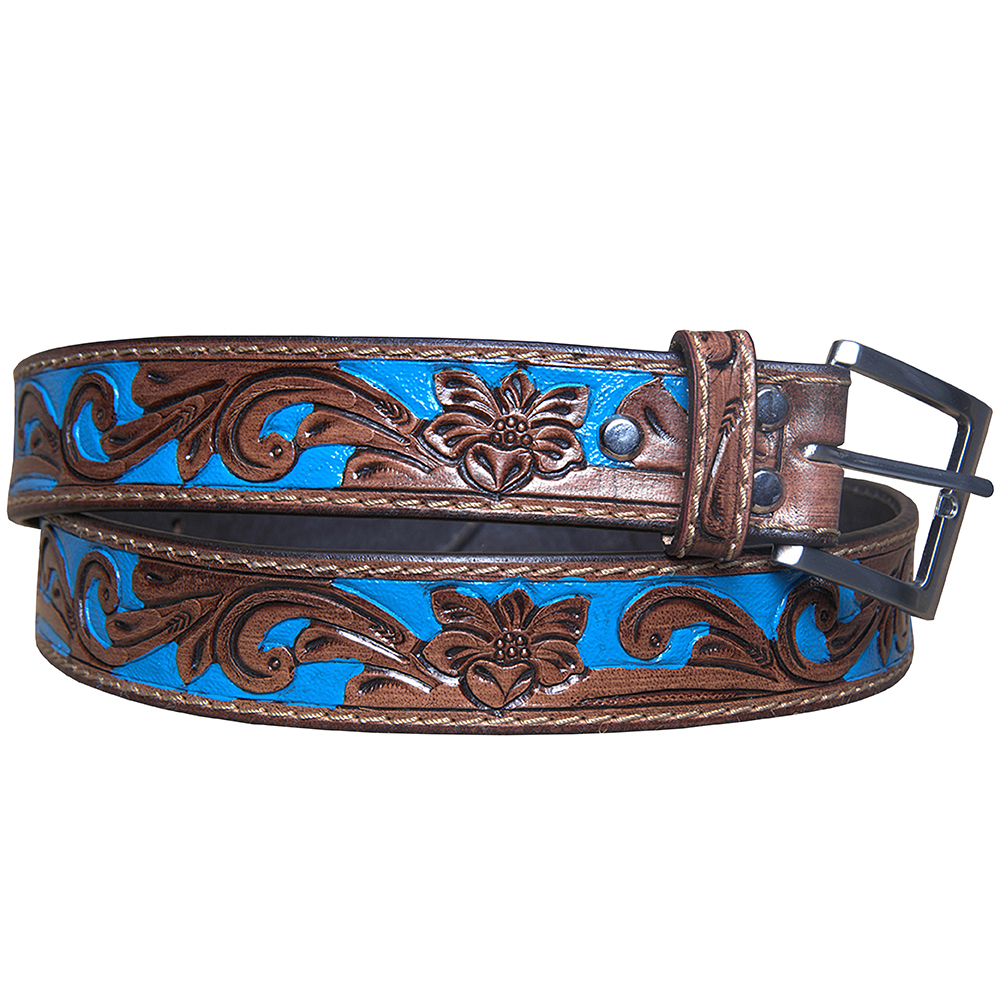 U-L-MX Hilason Hand Made Buffalo Hide Leather Stitched Gun Holster Belt