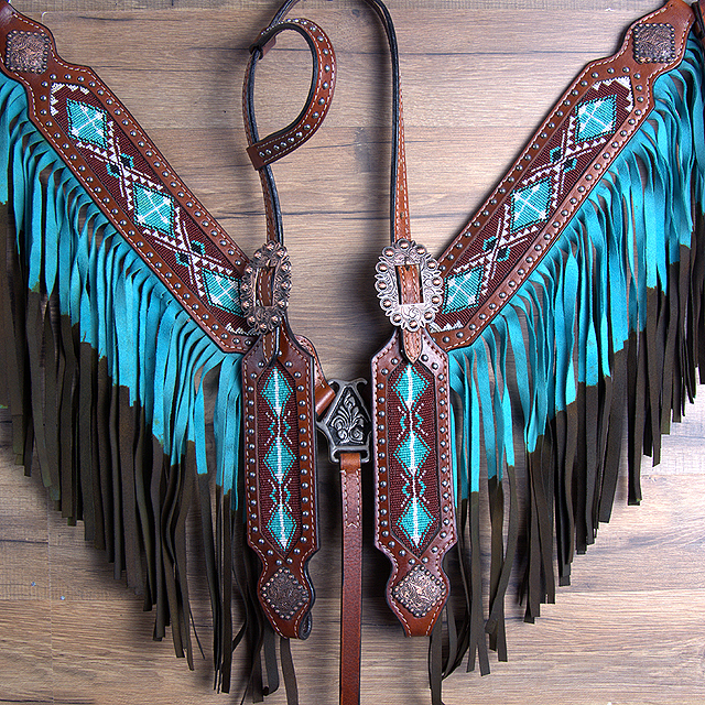 HILASON WESTERN LEATHER HORSE HEADSTALL BREAST COLLAR ...