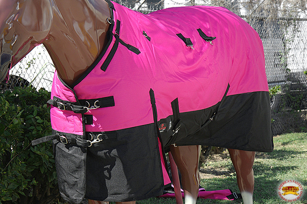 C-2-72 72 in Hilason 1200D Ripstop Waterproof Turnout Winter Horse Blanket Pink