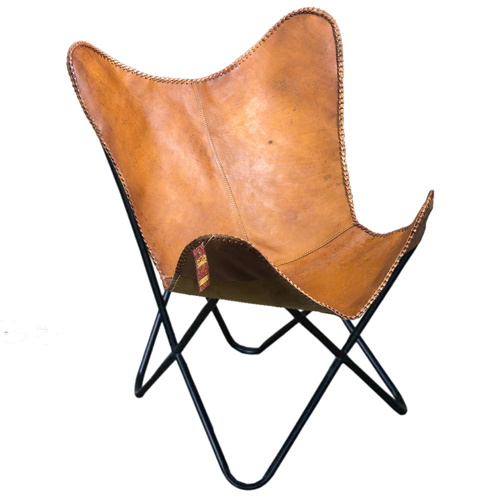 Hilason Vintage Leather Butterfly Chair Folding Lounge