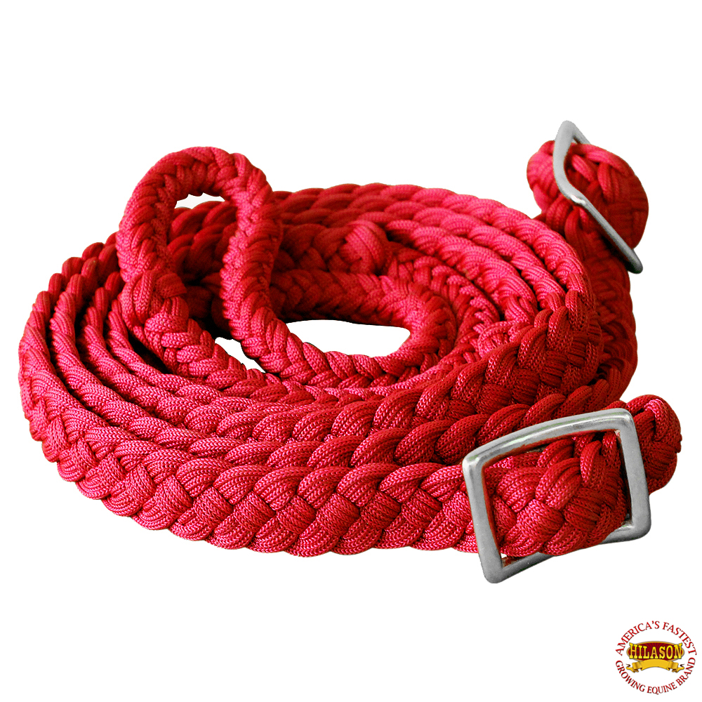 1-034-X-8FT-HILASON-BRAIDED-POLY-BARREL-HORSE-RACING-FLAT-REINS-W-EASY-GRIP-KNOTS thumbnail 50