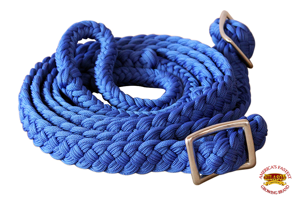1-034-X-8FT-HILASON-BRAIDED-POLY-BARREL-HORSE-RACING-FLAT-REINS-W-EASY-GRIP-KNOTS thumbnail 14