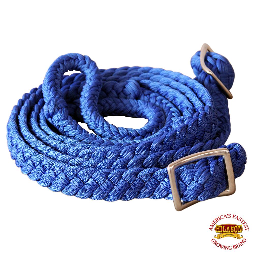 1-034-X-8FT-HILASON-BRAIDED-POLY-BARREL-HORSE-RACING-FLAT-REINS-W-EASY-GRIP-KNOTS thumbnail 13