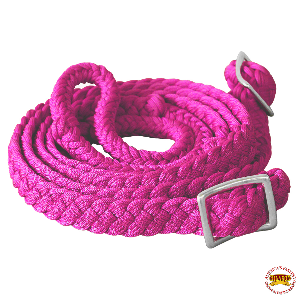 1-034-X-8FT-HILASON-BRAIDED-POLY-BARREL-HORSE-RACING-FLAT-REINS-W-EASY-GRIP-KNOTS thumbnail 31