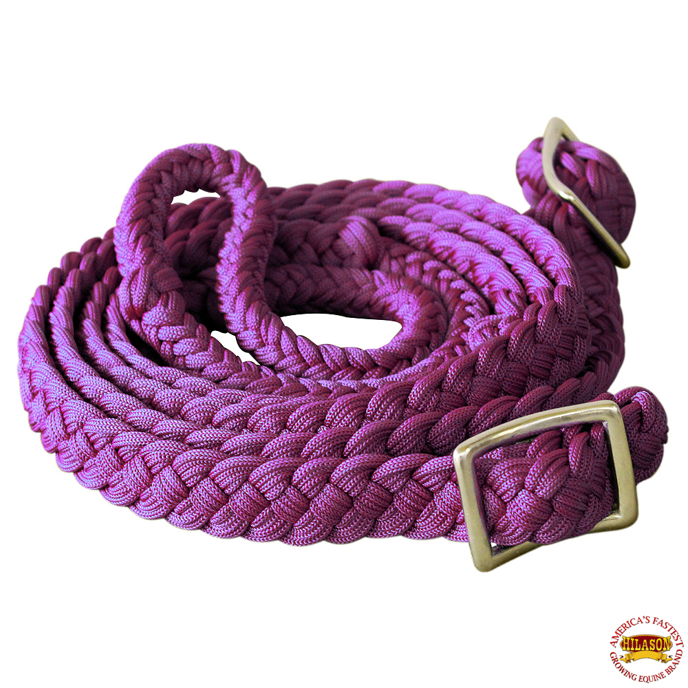 1-034-X-8FT-HILASON-BRAIDED-POLY-BARREL-HORSE-RACING-FLAT-REINS-W-EASY-GRIP-KNOTS thumbnail 45
