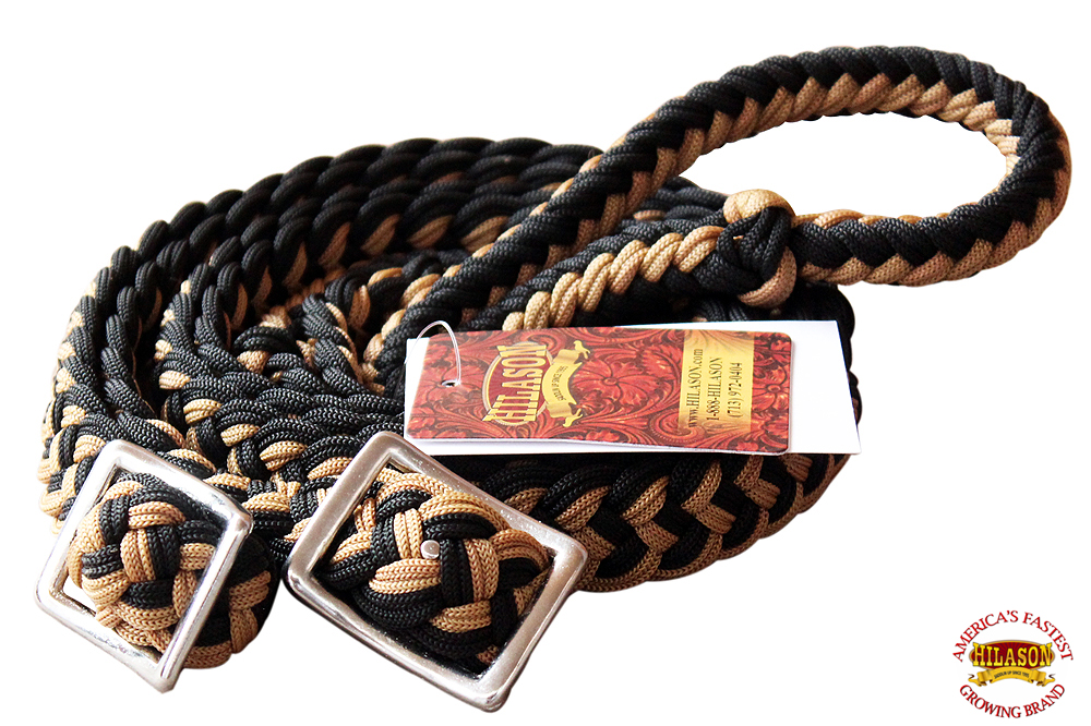 1-034-X-8FT-HILASON-BRAIDED-POLY-BARREL-HORSE-RACING-FLAT-REINS-W-EASY-GRIP-KNOTS thumbnail 58