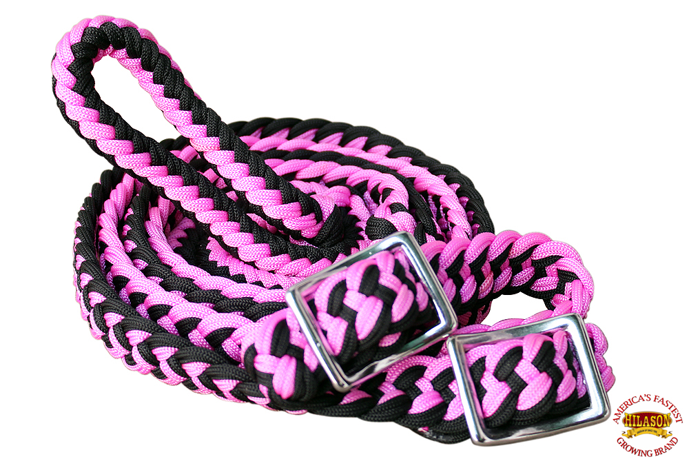 1-034-X-8FT-HILASON-BRAIDED-POLY-BARREL-HORSE-RACING-FLAT-REINS-W-EASY-GRIP-KNOTS thumbnail 34