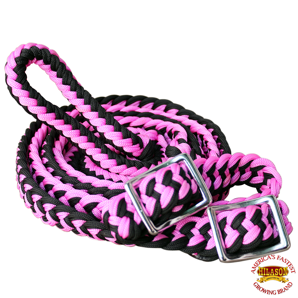 1-034-X-8FT-HILASON-BRAIDED-POLY-BARREL-HORSE-RACING-FLAT-REINS-W-EASY-GRIP-KNOTS thumbnail 33