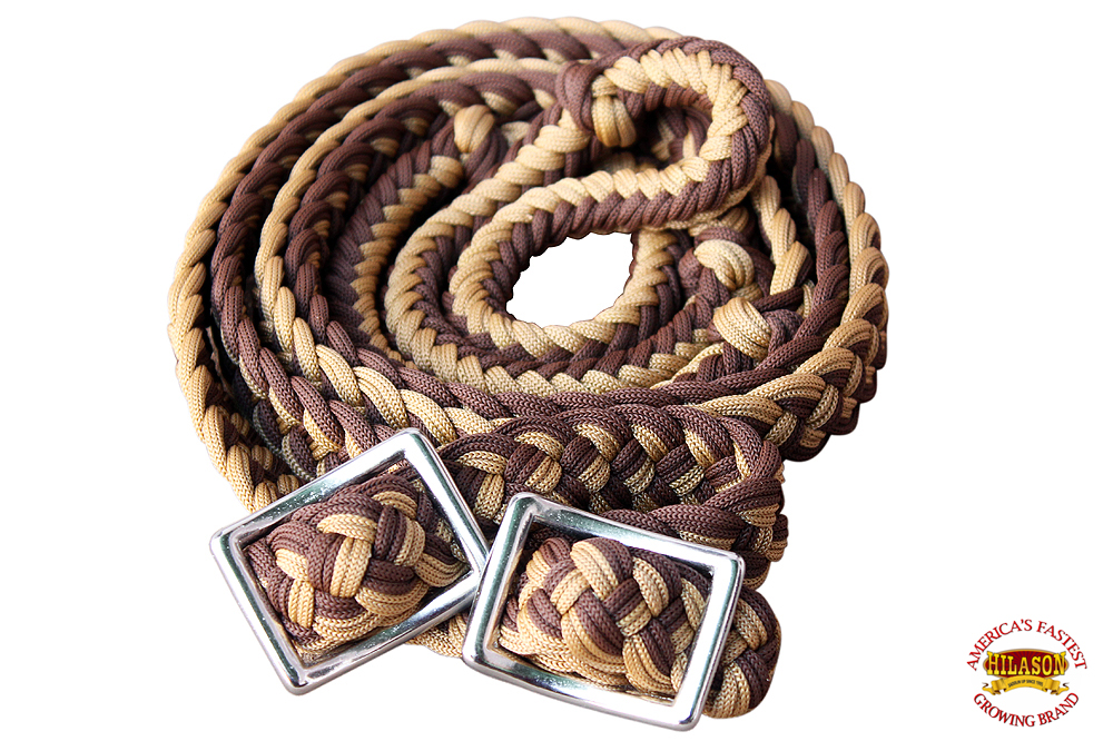 1-034-X-8FT-HILASON-BRAIDED-POLY-BARREL-HORSE-RACING-FLAT-REINS-W-EASY-GRIP-KNOTS thumbnail 20