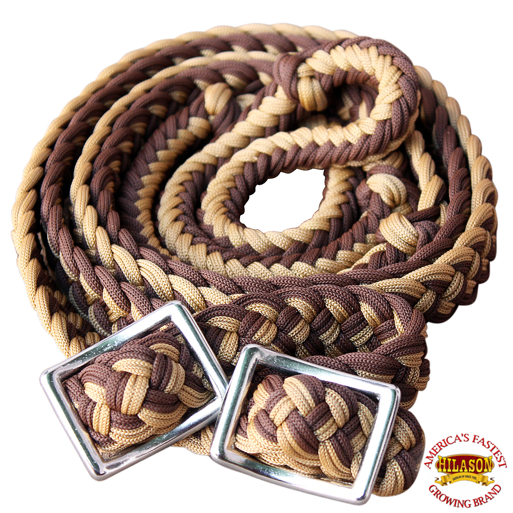 1-034-X-8FT-HILASON-BRAIDED-POLY-BARREL-HORSE-RACING-FLAT-REINS-W-EASY-GRIP-KNOTS thumbnail 19