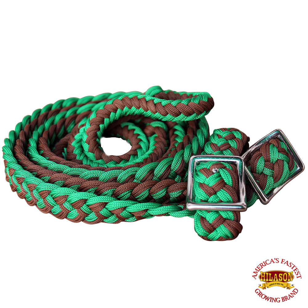 1-034-X-8FT-HILASON-BRAIDED-POLY-BARREL-HORSE-RACING-FLAT-REINS-W-EASY-GRIP-KNOTS thumbnail 25