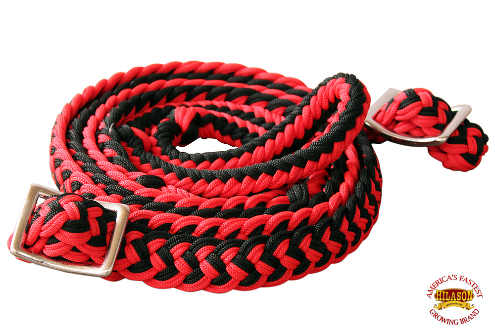 1-034-X-8FT-HILASON-BRAIDED-POLY-BARREL-HORSE-RACING-FLAT-REINS-W-EASY-GRIP-KNOTS thumbnail 53