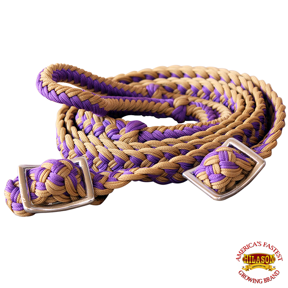 1-034-X-8FT-HILASON-BRAIDED-POLY-BARREL-HORSE-RACING-FLAT-REINS-W-EASY-GRIP-KNOTS thumbnail 22
