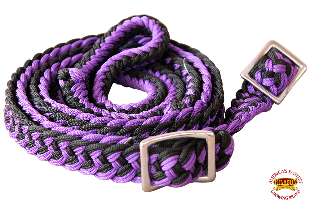 1-034-X-8FT-HILASON-BRAIDED-POLY-BARREL-HORSE-RACING-FLAT-REINS-W-EASY-GRIP-KNOTS thumbnail 48
