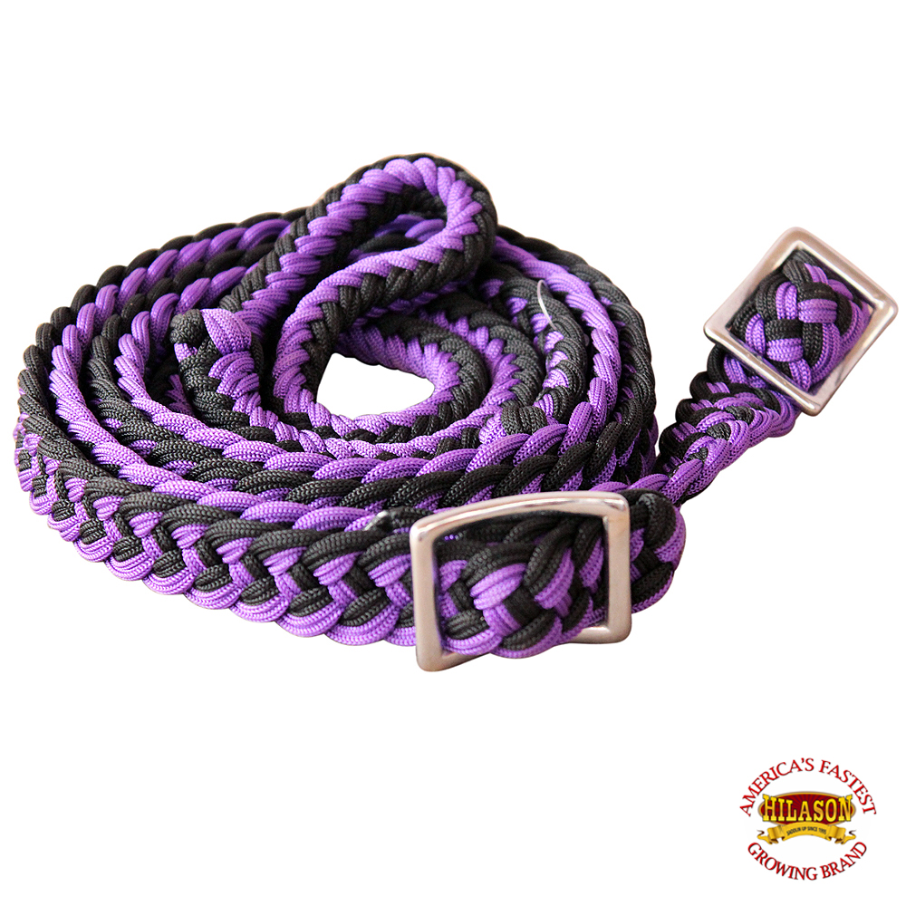 1-034-X-8FT-HILASON-BRAIDED-POLY-BARREL-HORSE-RACING-FLAT-REINS-W-EASY-GRIP-KNOTS thumbnail 47