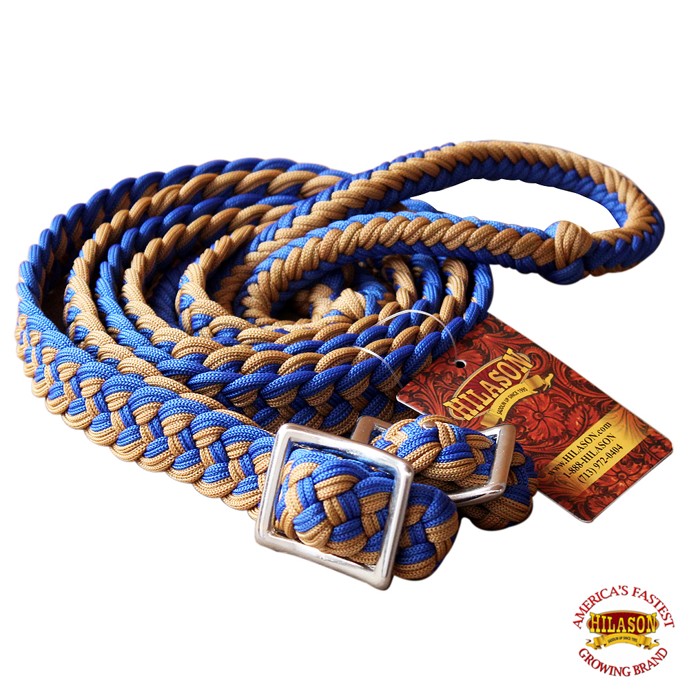 1-034-X-8FT-HILASON-BRAIDED-POLY-BARREL-HORSE-RACING-FLAT-REINS-W-EASY-GRIP-KNOTS thumbnail 60