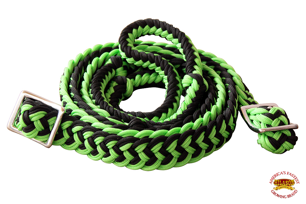 1-034-X-8FT-HILASON-BRAIDED-POLY-BARREL-HORSE-RACING-FLAT-REINS-W-EASY-GRIP-KNOTS thumbnail 29