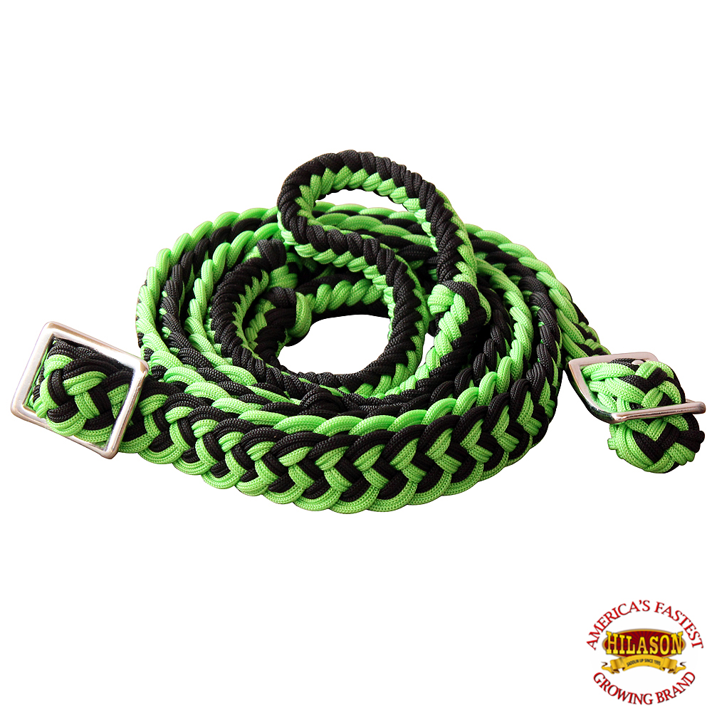 1-034-X-8FT-HILASON-BRAIDED-POLY-BARREL-HORSE-RACING-FLAT-REINS-W-EASY-GRIP-KNOTS thumbnail 28