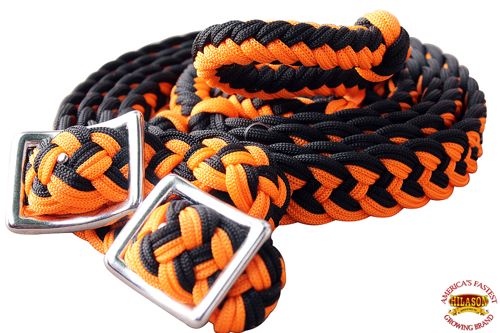 1-034-X-8FT-HILASON-BRAIDED-POLY-BARREL-HORSE-RACING-FLAT-REINS-W-EASY-GRIP-KNOTS thumbnail 40