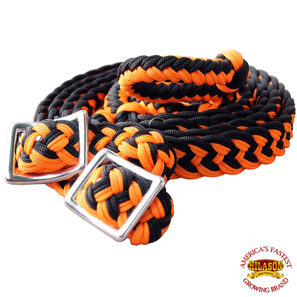 1-034-X-8FT-HILASON-BRAIDED-POLY-BARREL-HORSE-RACING-FLAT-REINS-W-EASY-GRIP-KNOTS thumbnail 39