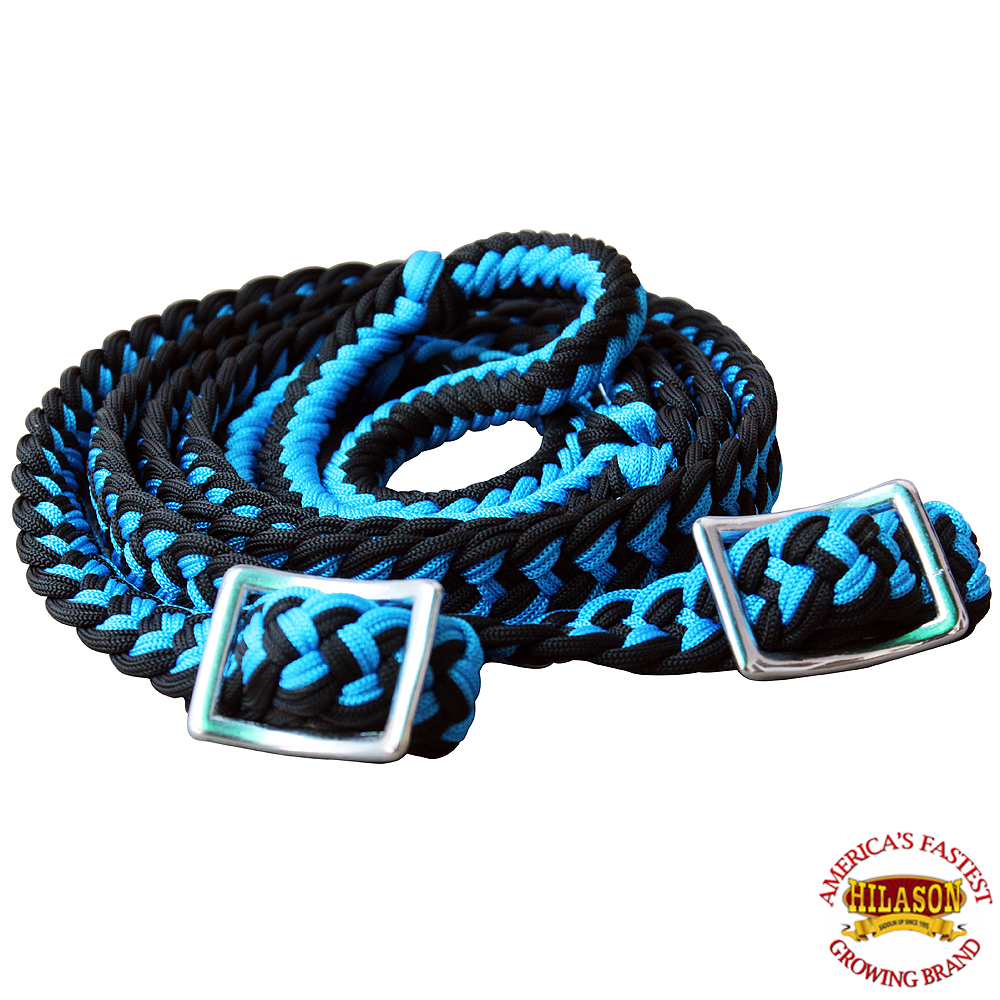 1-034-X-8FT-HILASON-BRAIDED-POLY-BARREL-HORSE-RACING-FLAT-REINS-W-EASY-GRIP-KNOTS thumbnail 55