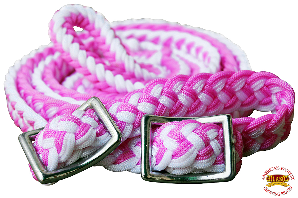 1-034-X-8FT-HILASON-BRAIDED-POLY-BARREL-HORSE-RACING-FLAT-REINS-W-EASY-GRIP-KNOTS thumbnail 43
