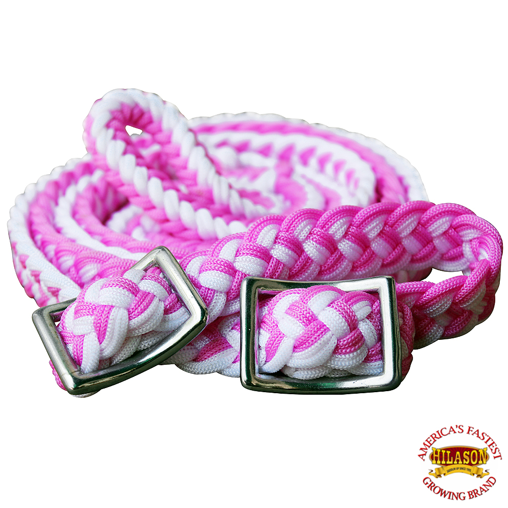 1-034-X-8FT-HILASON-BRAIDED-POLY-BARREL-HORSE-RACING-FLAT-REINS-W-EASY-GRIP-KNOTS thumbnail 42