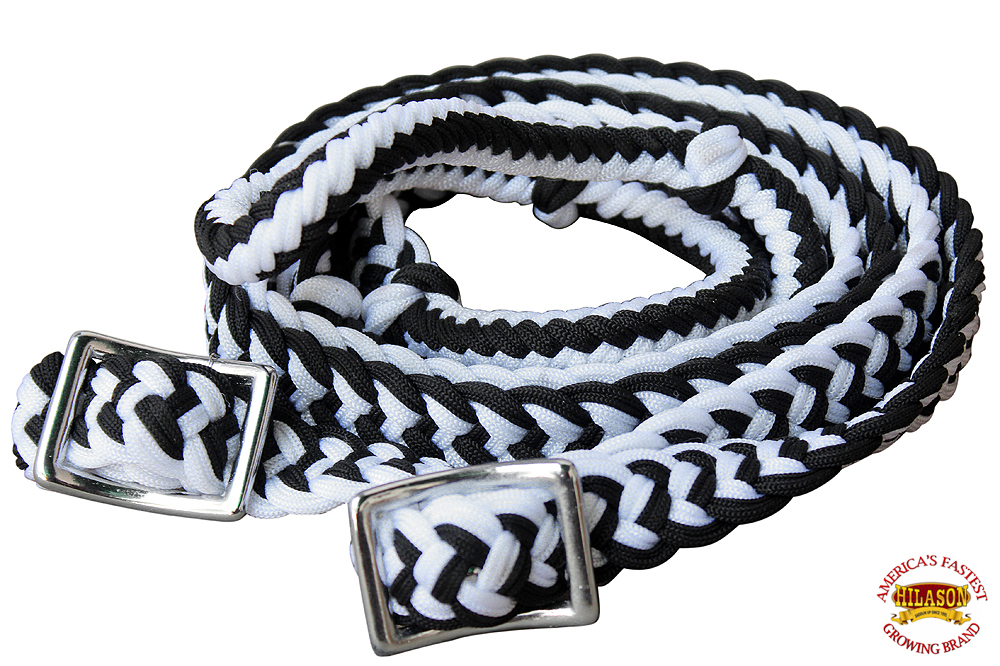 1-034-X-8FT-HILASON-BRAIDED-POLY-BARREL-HORSE-RACING-FLAT-REINS-W-EASY-GRIP-KNOTS thumbnail 11
