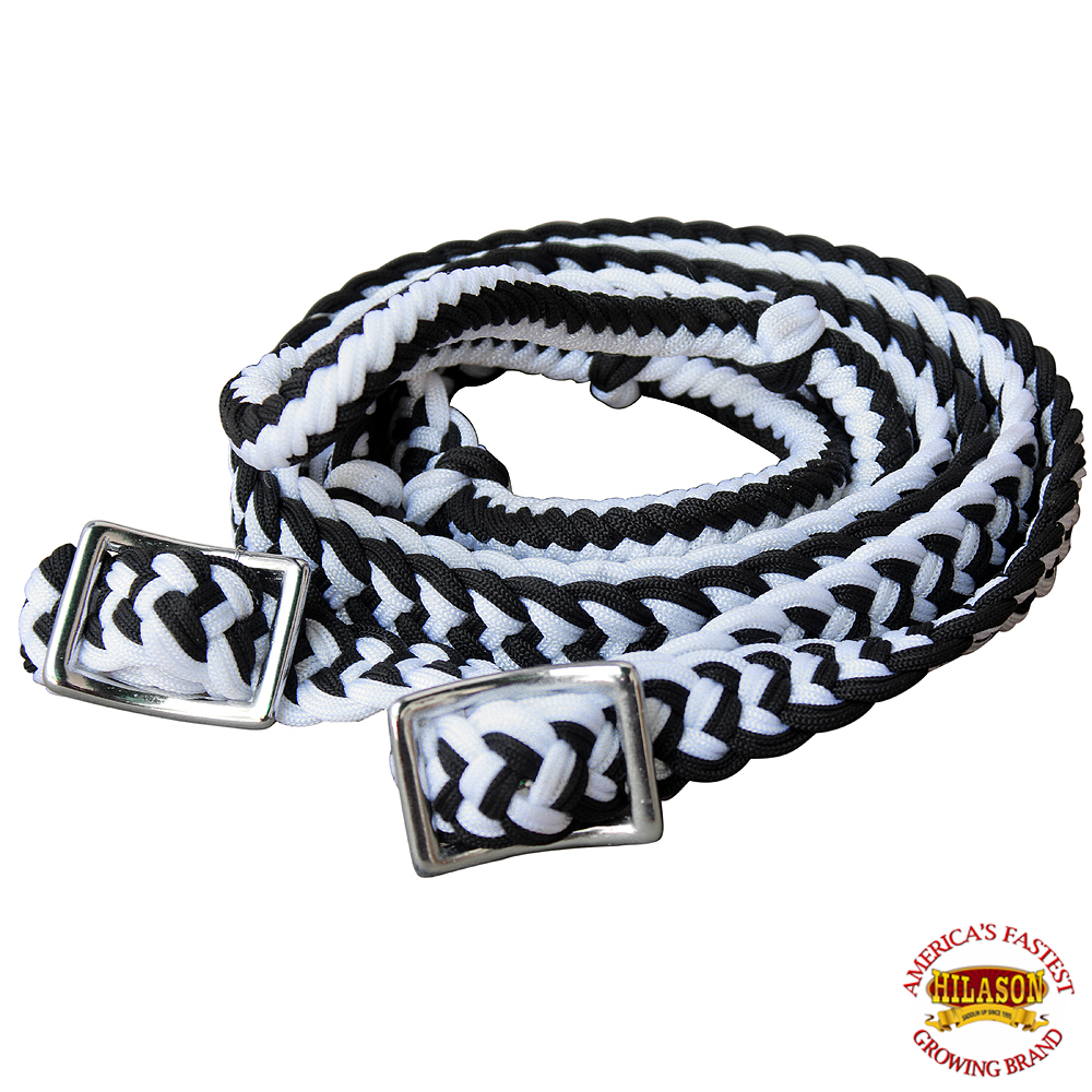 1-034-X-8FT-HILASON-BRAIDED-POLY-BARREL-HORSE-RACING-FLAT-REINS-W-EASY-GRIP-KNOTS thumbnail 10