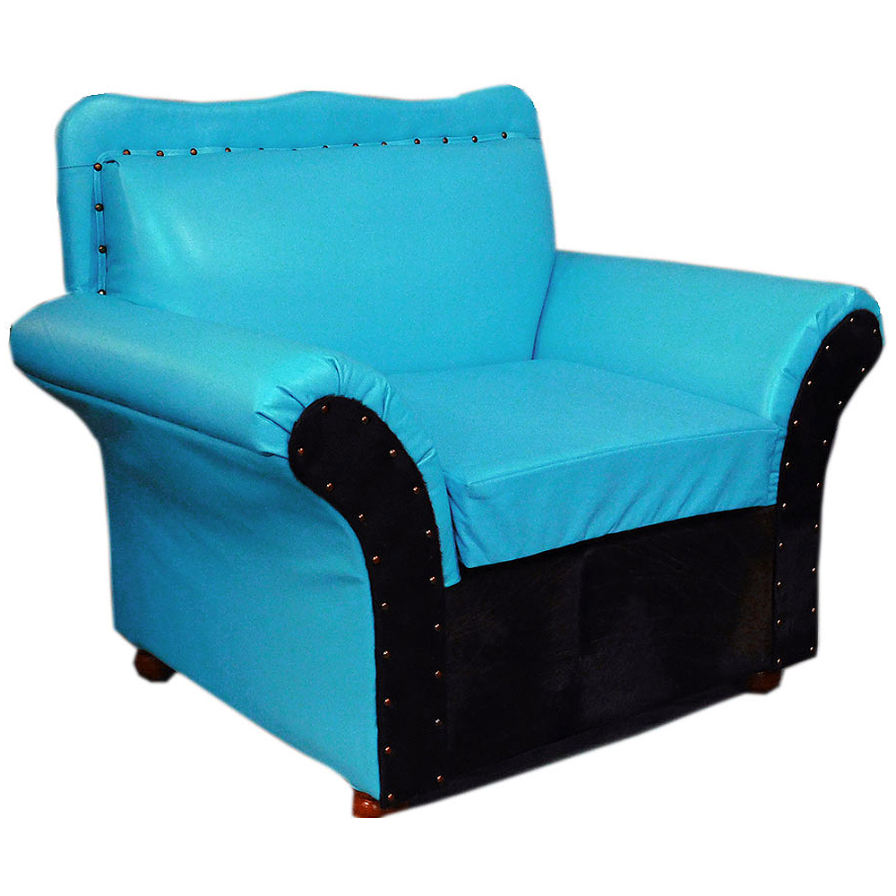 Details about WESTERN GENUINE TURQUOISE LEATHER SOFA CHAIR FURNITURE U-R129