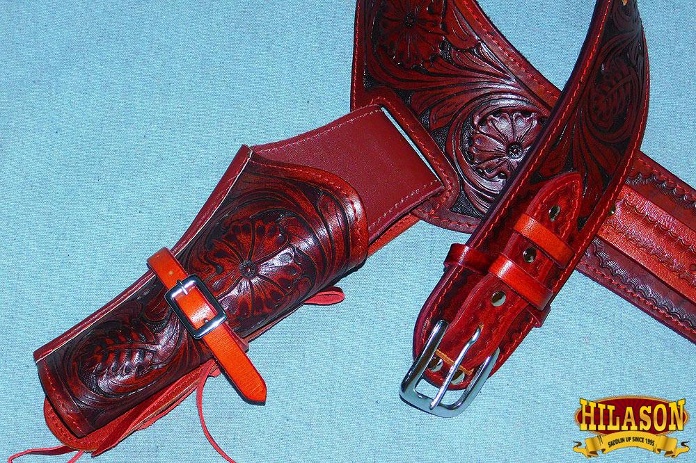 U-8-VX L102- HILASON WESTERN RIGHT HAND GUN GUN GUN HOLSTER RIG 38 CAL TOOLED LEATHER CO f755d2