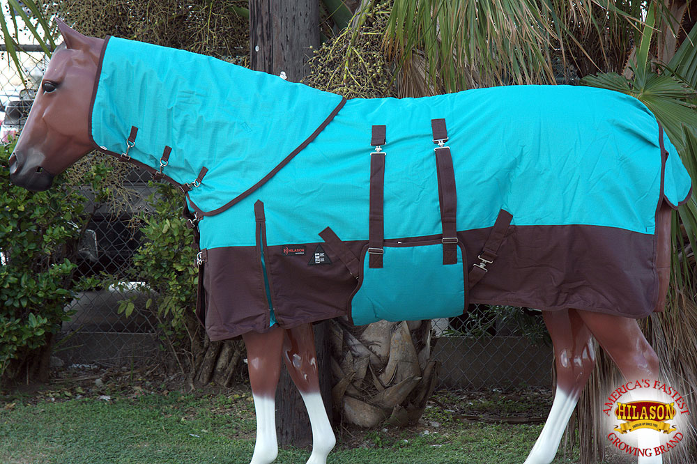 """66/"""" 84/"""" HILASON 1200D 400GSM WINTER HORSE BLANKET W// NECK COVER BELLY WRAP"""