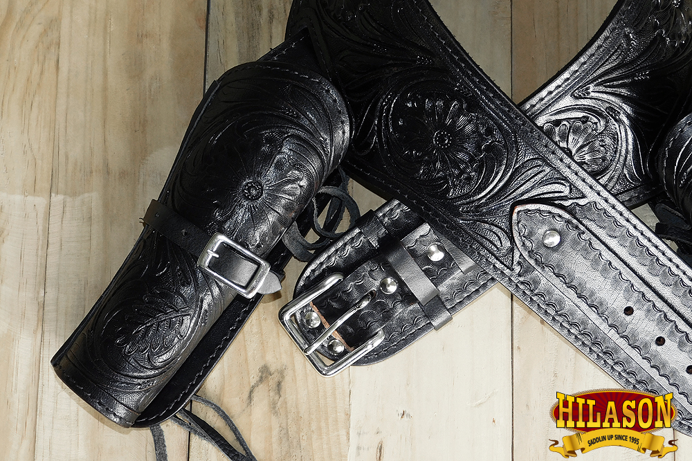 Leather Gun Holster Hilason Double Tooled Caliber 44//45 Western Rig U-L-VX