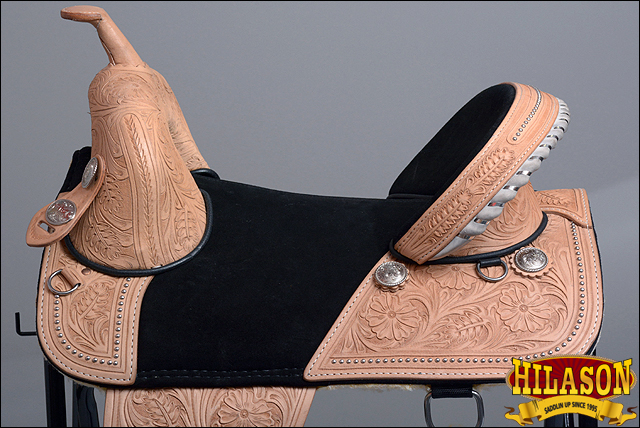 Hilason clásico sin árboles Western de Trail barril Racing de Western cuero silla de montar caballo 59472e